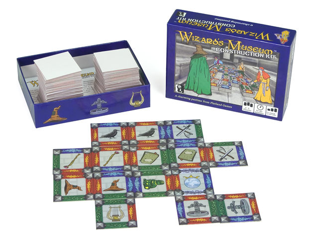 The packaging and play tiles for Wizard's Museum Construction Kit, the new board game from Flatland Games