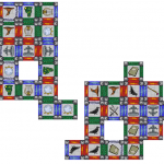 A game of Wizard's Museum Construction Kit in progress. The players here are jockeying for position. You'll see that the player on the left has made a museum of eight tiles' height by staggering the lines of tiles used.